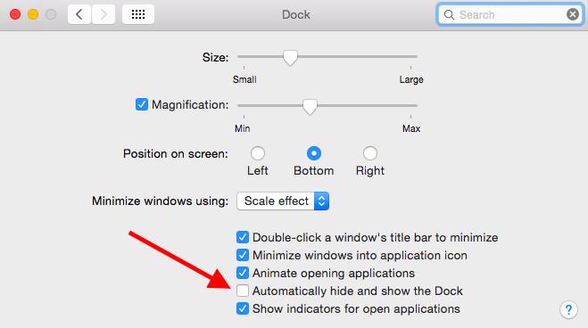 Dock System Preferences